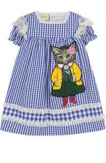 Хлопковое мини-платье свободного кроя с аппликацией и кружевной отделкой Gucci