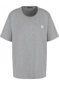 Однотонная хлопковая футболка прямого кроя Acne Studios