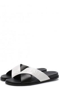 Кожаные шлепанцы Criss с логотипом бренда Balmain