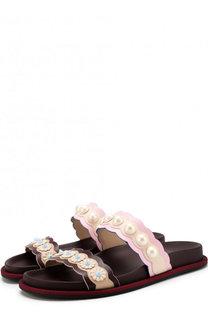 Кожаные шлепанцы Pearl Land с жемчужной отделкой Fendi