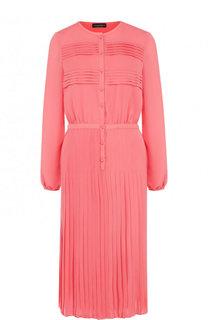 Шелковое платье-миди с плиссированной юбкой Emporio Armani