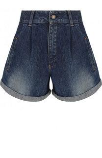 Джинсовые мини-шорты с завышенной талией и отворотами Saint Laurent