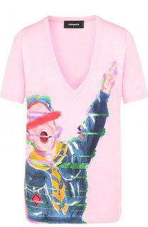 Хлопковая футболка с принтом и V-образным вырезом Dsquared2