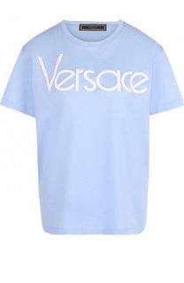 Хлопковая футболка с контрастным логотипом бренда Versace