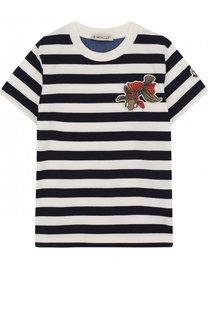 Хлопковая футболка в полоску с нашивкой Moncler Enfant