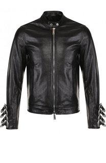 Кожаная куртка на молнии и декоративными ремешками Dsquared2