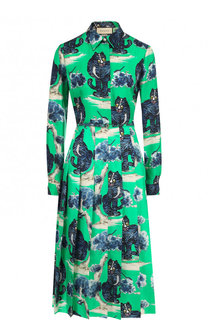 Шелковое платье-рубашка с принтом Gucci
