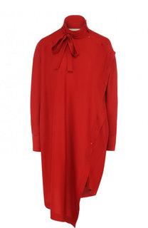Шелковое платье свободного кроя с воротником-стойкой Valentino