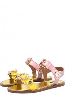 Кожаные сандалии с декоративной отделкой Dolce & Gabbana