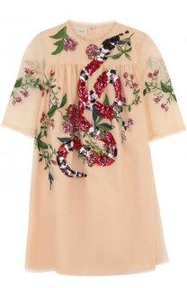 Мини-платье А-силуэта с вышивкой пайетками Gucci