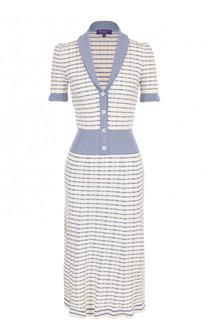 Приталенное платье-миди из смеси хлопка и кашемира Ralph Lauren