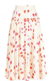 Шелковая плиссированная юбка-миди с принтом Alexander McQueen