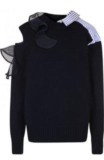 Хлопковый пуловер с оборками и разрезом на плече Sacai