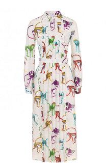 Приталенное шелковое платье-рубашка с принтом Stella Jean