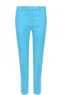 Укороченные однотонный брюки из смеси льна и вискозы Kiton