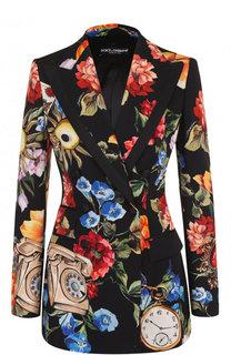 Приталенный двубортный жакет с принтом Dolce & Gabbana
