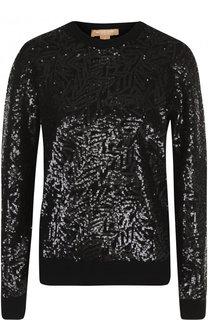 Кашемировый пуловер с пайетками Michael Kors Collection