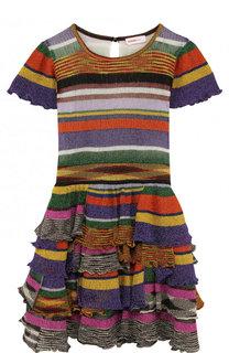 Приталенное платье-миди с металлизированным принтом и оборками на юбке Missoni