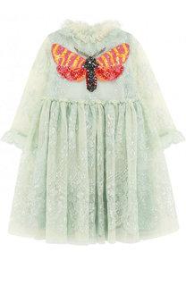 Мини-платье с металлизированной отделкой и вышивкой пайетками Gucci