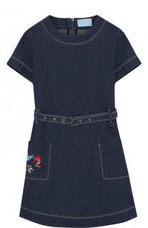 Хлопковое платье прямого кроя с поясом и вышивкой Lanvin
