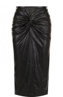 Кожаная юбка-карандаш с драпировкой No. 21