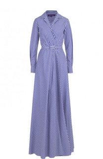 Хлопковое платье-рубашка в клетку с поясом Ralph Lauren