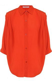Однотонная шелковая блуза с коротким рукавом Givenchy