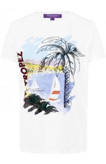 Хлопковая футболка прямого кроя с принтом Ralph Lauren