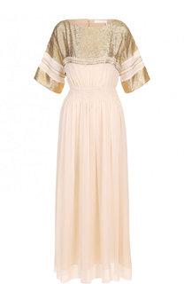 Шелковое приталенное платье с контрастной отделкой Chloé