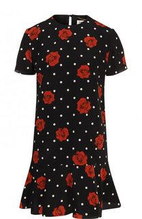 Шелковое мини-платье с принтом и оборкой Saint Laurent