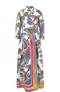 Приталенное хлопковое платье-рубашка с принтом sara roka