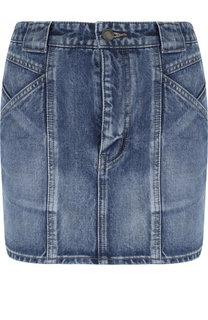 Джинсовая мини-юбка с потертостями Saint Laurent