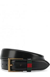 Кожаный ремень с металлической пряжкой Gucci