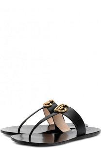 Кожаные шлепанцы с логотипом бренда Gucci