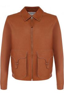 Кожаная куртка на молнии с контрастной прострочкой Loewe