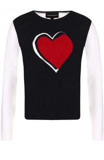 Пуловер с круглым вырезом и контрастными рукавами Emporio Armani