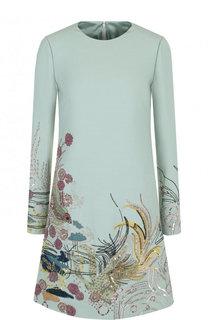 Мини-платье из смеси шерсти и шелка с вышивкой Valentino