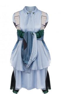 Мини-платье свободного кроя с кардиганом Sacai