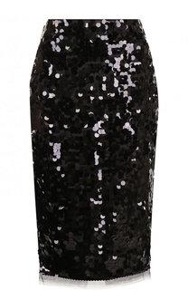 Шелковая юбка-миди с пайетками No. 21