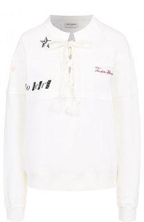 Однотонный хлопковый пуловер с надписью Saint Laurent