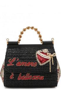 Сумка Sicily medium с отделкой из рафии Dolce & Gabbana