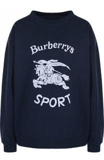 Хлопковый пуловер с круглым вырезом и принтом Burberry