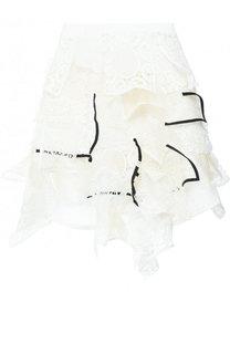Хлопковая мини-юбка асимметричного кроя Sacai