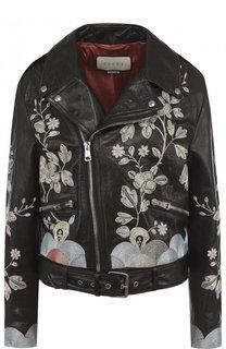 Кожаная куртка с косой молнией и контрастной вышивкой Gucci