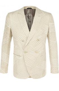 Двубортный пиджак из вискозы Giorgio Armani
