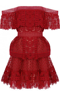 Приталенное кружевное мини-платье с открытыми плечами self-portrait