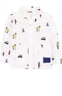 Хлопковая рубашка с накладными карманами и вышивками Burberry