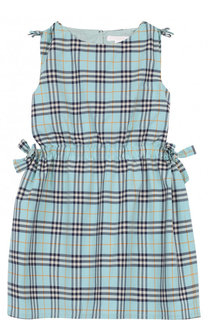 Хлопковое мини-платье с принтом и поясом на кулисках Burberry