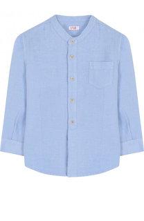 Льняная рубашка с воротником-стойкой Il Gufo