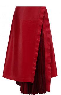 Кожаная юбка-миди с плиссированной вставкой Valentino